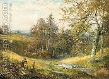 Figures near a stream, with a woodland beyond by (after) George Turner - Reproduction Oil Painting