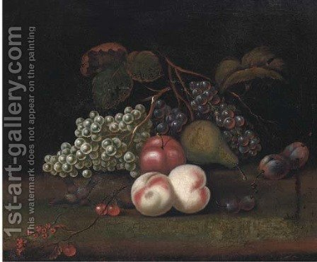 Still life of grapes, peaches, an apple, pear and plums by (after) William Sartorius - Reproduction Oil Painting