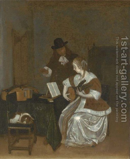 The music lesson by (after) Gerard Ter Borch - Reproduction Oil Painting