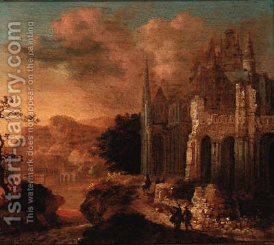 Figures amongst classical ruins by (after) Gerard Van Edema - Reproduction Oil Painting