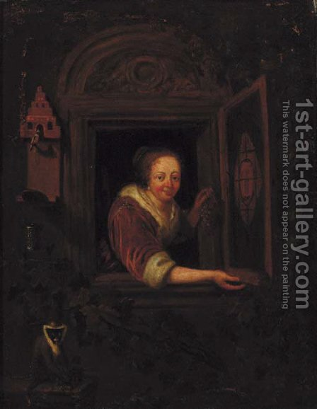 A lady with a monkey and a bullfinch at a casement by (after) Gerrit Dou - Reproduction Oil Painting