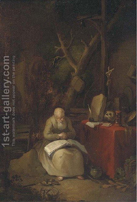 Saint Jerome in a landscape by (after) Gerrit Dou - Reproduction Oil Painting