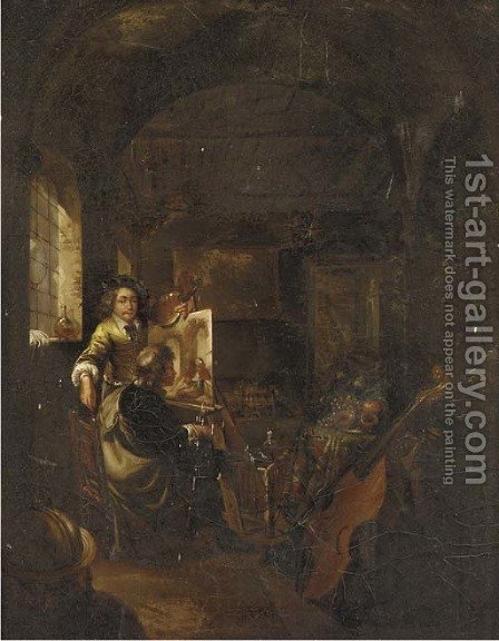 The interior of an artist's studio by (after) Gerrit Dou - Reproduction Oil Painting