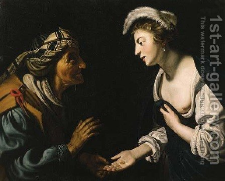 A young woman consulting a fortune teller by (after) Honthorst, Gerrit van - Reproduction Oil Painting