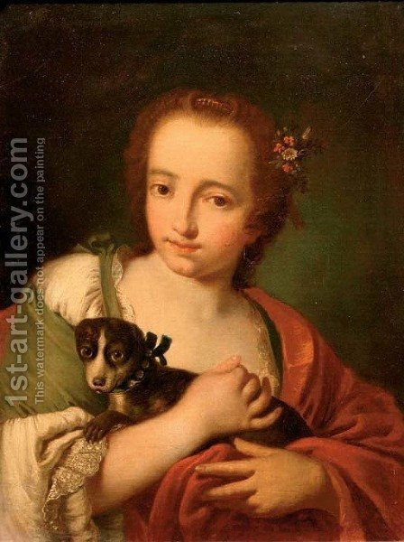A young woman in a green dress and a red wrap, with a dog in her arms by (after) Giovanni Battista Piazzetta - Reproduction Oil Painting