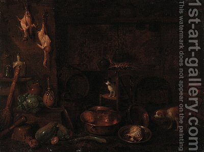 A dog, a cat and dead game with vegetables and cooking vessels in a kitchen interior by (after) Gian Domenico Valentino - Reproduction Oil Painting