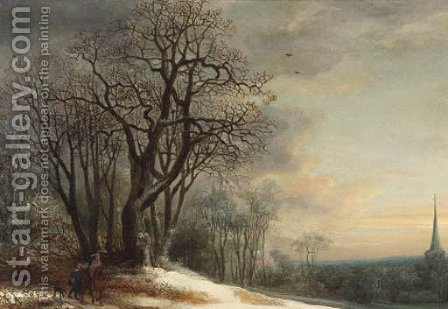 Travellers on a snowy path overlooking a valley, at sunset by (after) Gijsbrecht Leytens - Reproduction Oil Painting