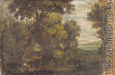 Hunters shooting gamebirds in a wooded landscape by (after) Gillis Van Coninxloo - Reproduction Oil Painting