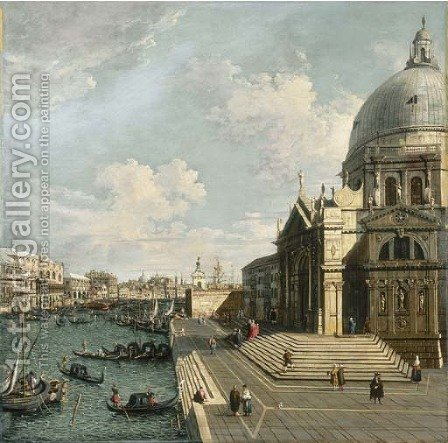 The Entrance of the Grand Canal, Venice, looking East with Santa Maria della Salute and the Dogana by (after) (Giovanni Antonio Canal) Canaletto - Reproduction Oil Painting