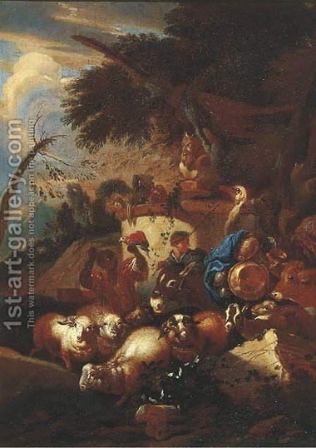 A muleteer with sheep, goats, a cow, an ostrich and a camel by a statue of Pan in an Italianate landscape by (after) Giovanni Battista Castiglione - Reproduction Oil Painting