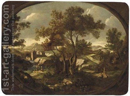 A landscape with travellers at rest by a river, other figures on a path, a walled town beyond by (after) Gianbattista Cimaroli - Reproduction Oil Painting