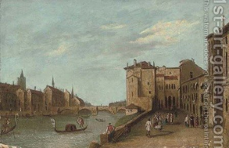 A Venetian capriccio by (after) Gianbattista Cimaroli - Reproduction Oil Painting