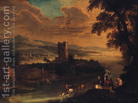 An extensive river landscape with an elegant couple on horseback, a village beyond by (after) Gianbattista Cimaroli - Reproduction Oil Painting