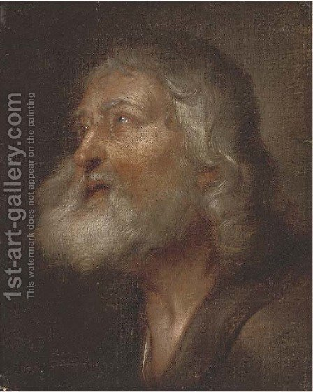 The head of a male saint by (after) Giovanni Battista Langetti - Reproduction Oil Painting