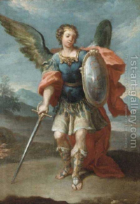 The Archangel Saint Michael by (after) Giovanni Battista The Younger Pittoni - Reproduction Oil Painting