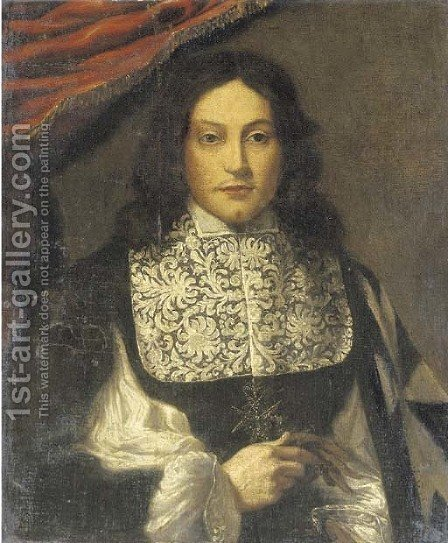 Portrait of a Knight of Malta by (after) Giovanni Bernardo Carbone - Reproduction Oil Painting