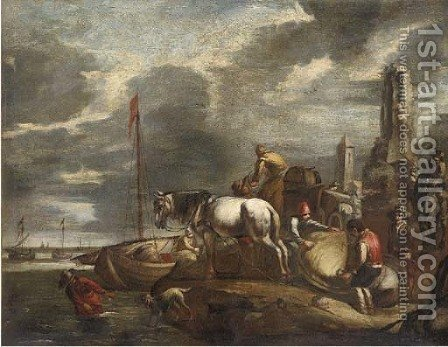 Stevedores at a harbour by (after) Giovanni De Momper - Reproduction Oil Painting