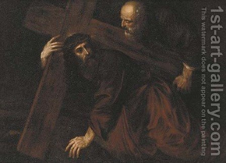Christ carrying the Cross with Simon of Cyrene by (after) Giovanni Francesco Guercino (BARBIERI) - Reproduction Oil Painting