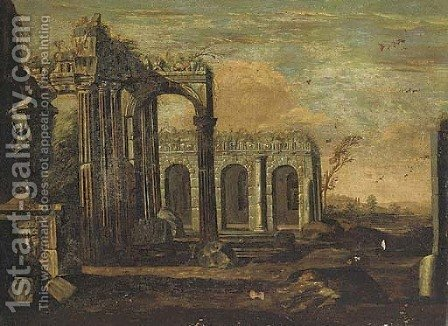 An architectural cappriccio of Roman ruins by (after) Giovanni Ghisolfi - Reproduction Oil Painting