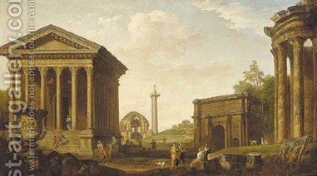 A capriccio of figures amongst Roman ruins by (after) Giovanni Paolo Panini - Reproduction Oil Painting