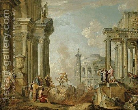 Marcus Curtius riding into the chasm of fire by (after) Giovanni Paolo Panini - Reproduction Oil Painting
