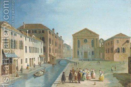 The piazza and church of S. Giuseppe, Venice by (after) Giovanni Richter - Reproduction Oil Painting