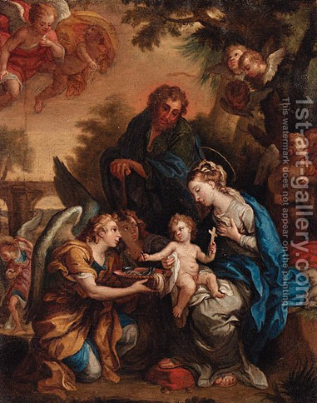 The Holy Family with Angels presenting the Instruments of the Passion by (after) Giulio Cesare Procaccini - Reproduction Oil Painting