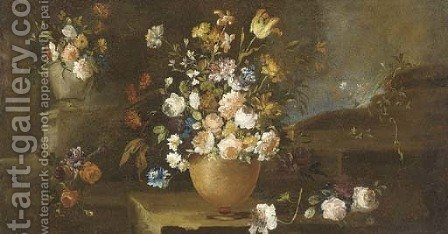 Roses, parrot tulips, daffodils, carnations and other flowers in urns on a ledge by (after) Giuseppe Lavagna - Reproduction Oil Painting