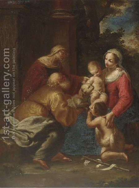 The Holy Family with Saint Elizabeth and the Infant Saint John the Baptist by (after) Giuseppe Maria Crespi - Reproduction Oil Painting