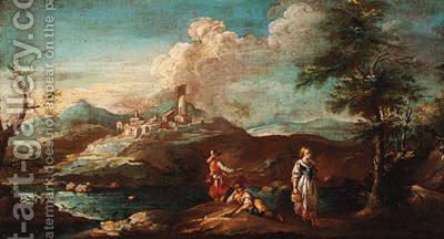 A river landscape with fishermen and a maid on a bank, a town beyond by (after) Giuseppe Zais - Reproduction Oil Painting