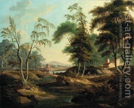An Italianate river landscape with figures at a bridge by (after) Giuseppe Zais - Reproduction Oil Painting