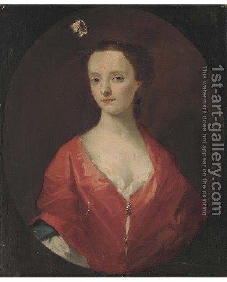 Portrait of a young lady, bust-length in a red dress within a feigned oval by (after) Kneller, Sir Godfrey - Reproduction Oil Painting