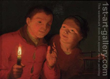Children watching a birdcage by candlelight by (after) Godfried Schalcken - Reproduction Oil Painting