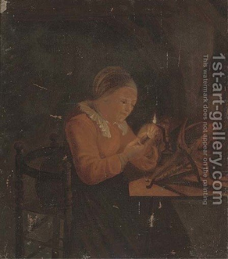 A lady sewing by candlelight by (after) Godfried Schalcken - Reproduction Oil Painting