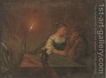 A couple drinking in an interior by candlelight by (after) Godried Schalken - Reproduction Oil Painting