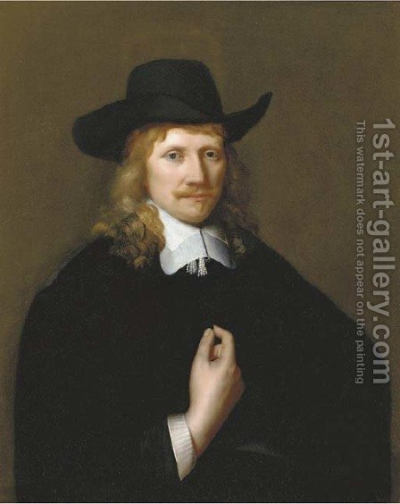 Portrait of a man, half-length, in a black costume by (after) Govert Teunisz. Flinck - Reproduction Oil Painting