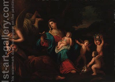 The Holy Family with an angel and putti in a landscape by (after) Guido Reni - Reproduction Oil Painting