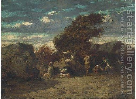 A skirmish by (after) Gustave Courbet - Reproduction Oil Painting