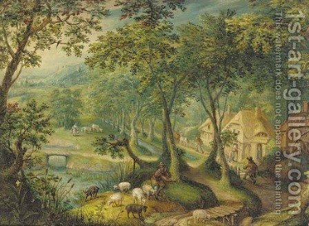 A wooded landscape with a shepherd and sheep on a track with figures before cottages beyond by (after) Hans Bol - Reproduction Oil Painting