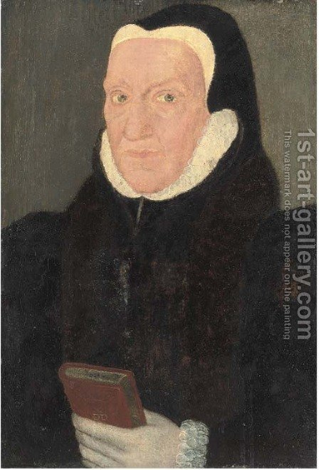 Portrait of a lady, quarter-length, in a black coat with a white ruff, holding a book by (after) Holbein the Younger, Hans - Reproduction Oil Painting