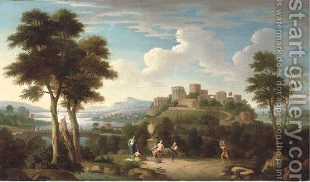 An Italiante landscape with elegant figures by a sculpted urn and a lady crossing a bridge with classical buildings beyond by (after) Hendrik Frans Van Lint (Studio Lo) - Reproduction Oil Painting