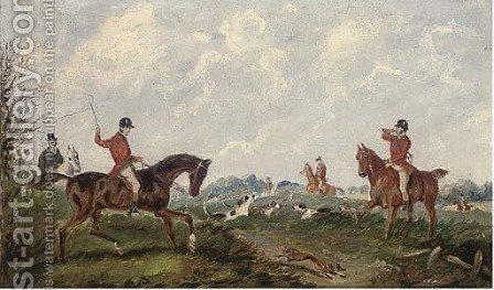 Over the stream by (after) Henry Alken - Reproduction Oil Painting