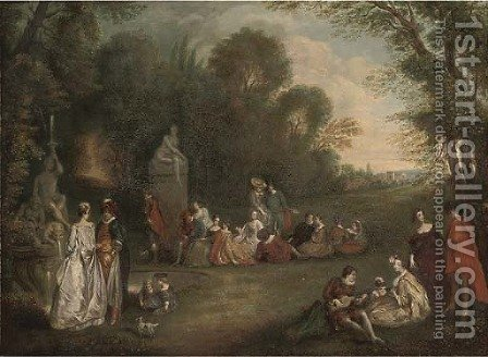 Elegant figures engaged in poetical pursuits, in an extensive landscape by (after) Henry Andrews - Reproduction Oil Painting