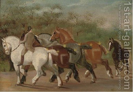 Shire-horses at exercise by (after) Henry William Standing - Reproduction Oil Painting
