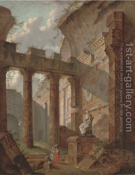 A capriccio of classical ruins with figures by a statue by (after) Hubert Robert - Reproduction Oil Painting