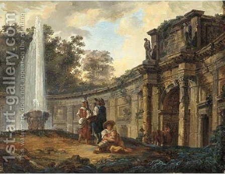 Figures conversing before a capriccio of classical ruins by (after) Hubert Robert - Reproduction Oil Painting