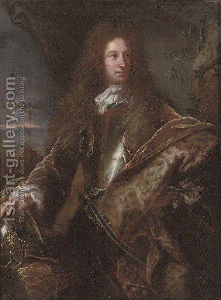 Portrait of a gentleman, traditionally identified as John Churchill, 1st Duke of Marlborough (1650-1722) by (after) Hyacinthe Rigaud - Reproduction Oil Painting