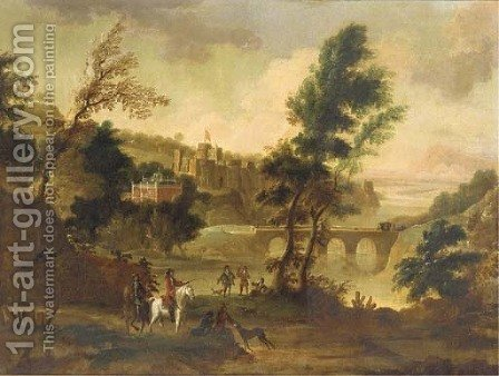A hawking party resting in a landscape, a castle beyond by (after) Isaac De Moucheron - Reproduction Oil Painting