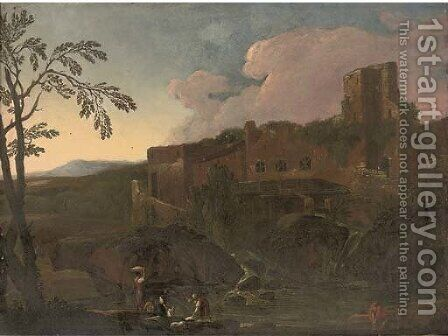 A landscape with washerwomen at a river, ruins beyond by (after) Jacob De Heusch - Reproduction Oil Painting