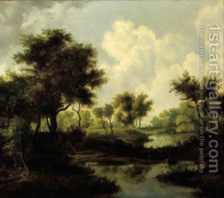 Travellers on a path in the dunes, in summer by (after) Jacob Van Ruisdael - Reproduction Oil Painting